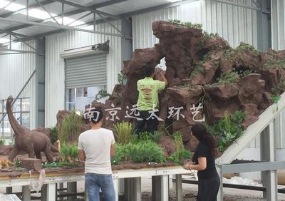 塑山塑石泥模制作现场