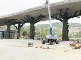 南京金牛湖野生动物园水泥仿真树大门